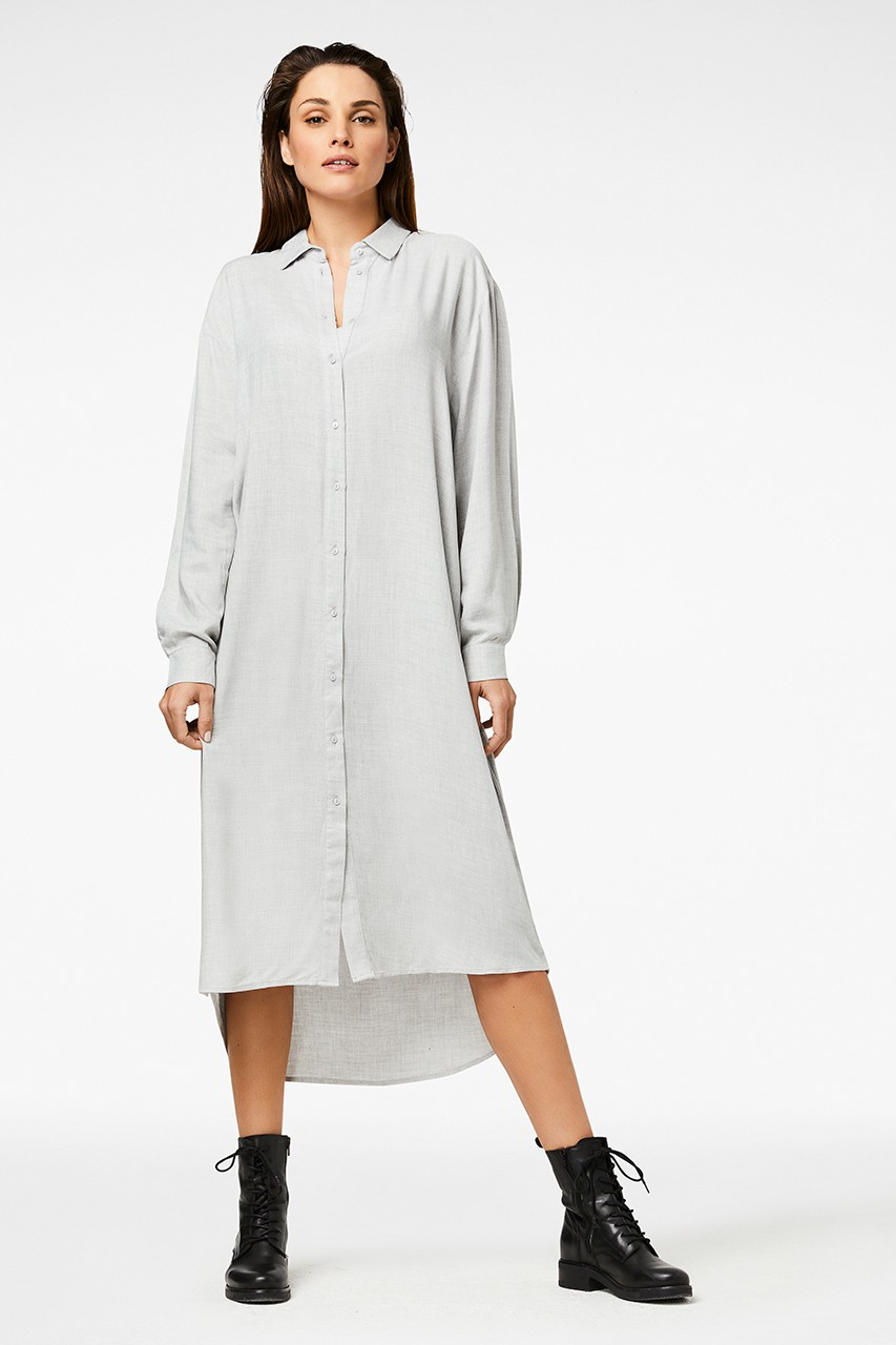 Simple - Kim - Shirt - Dress - grey melange