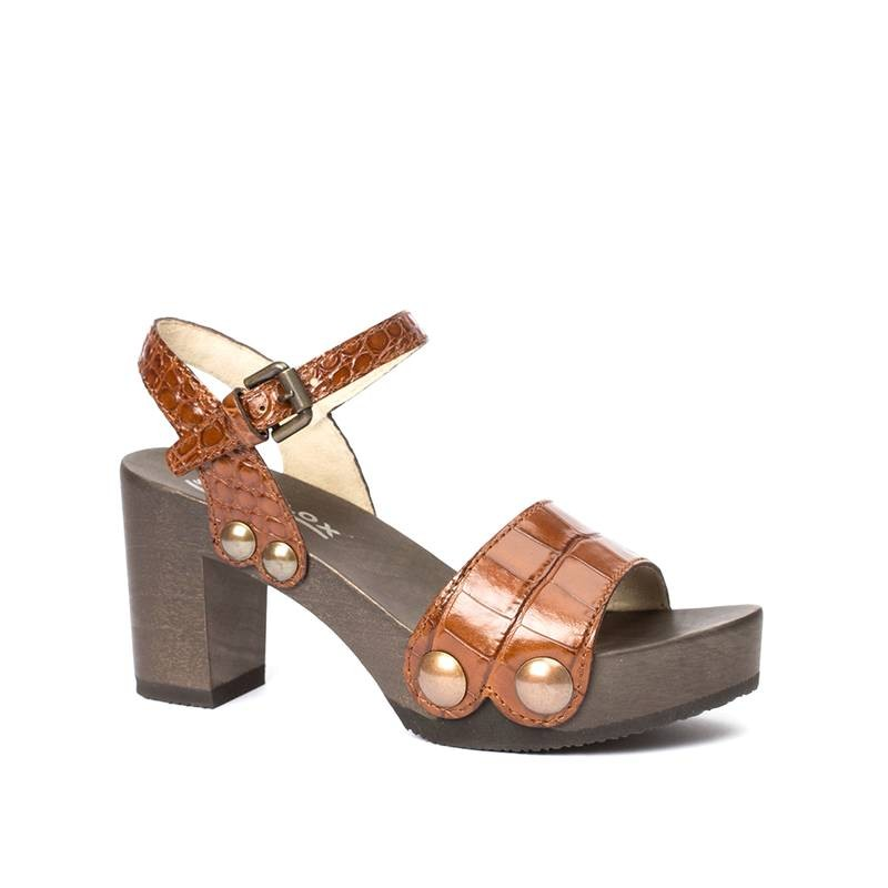 Clogs - Clog Eilyn Kroko brown  - Onlineshop Olden Mea