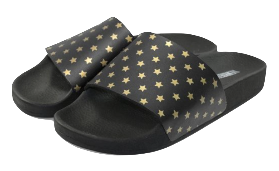 The White Brand - Slides - mini gold stars - schwarz